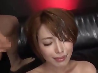 Beautiful Japanese office lady gets pissed in face coupled with bukkaked