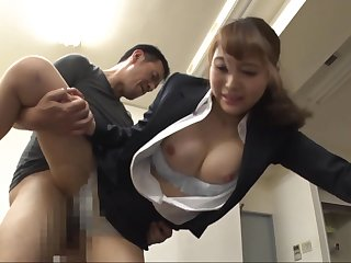 Busty Japanese sexretary gets banged at the end of one's tether horny boss in the office