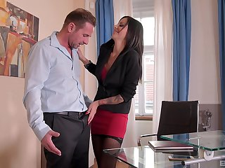 Secretary here stockings Summer swallows cum here the office