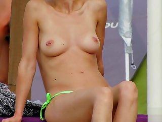 Amateurish Topless MILFs - Spy Beach Close-Up Video