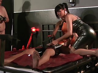Latex femdom occasion with Carmen Rivera with the addition of Lady Sahara