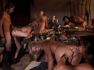 Unafraid orgy during dinner with a bunch of ladies