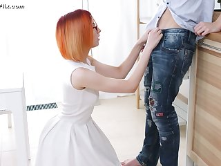 Nerdy ache haired dude is treated with a good blowjob by four eyed gal