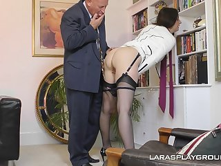 Mature amateur brunette Paul strips in the office and teases her big cheese