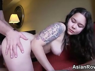 Young Girl, tattoed Asian loves blowing prick in POV PORN