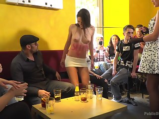 Carolina Abril is horny enough to start sex less the public with her friends