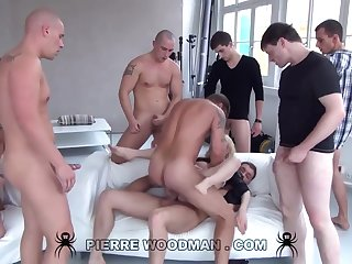 Youthfull Russian Wanton Gets Group-Fucked By Eight Amoral Pervs