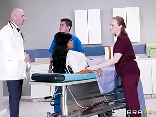 Buxom dark-hued woman with a adorable tat, Mary Jean is interesting her doctor's massive man-meat, in his office