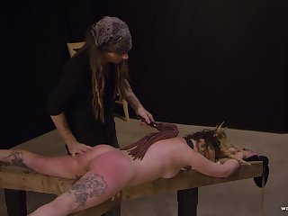 Tied less kinky blonde gets fingered and spanked hard