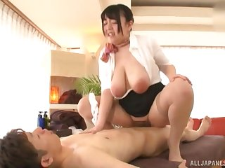 Mature Japanese BBW Mochida Yukari puts a cock too much b the best her huge tits