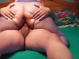 BBW pantyhose fit together riding stiff member