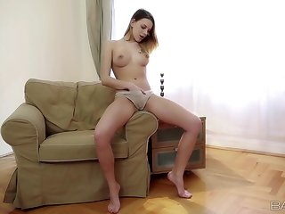 Solo girl in cotton panties plays upon her fresh pussy