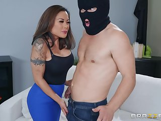 Brunette Asian MILF inflate Kaylani Lei gets cum sprayed on face