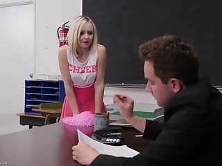 Mephitic student in cute pink overcrowd Natalia Queen spreads legs on the table for sex