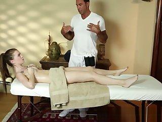 Lovely loveliness deepthroats the masseur