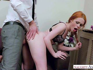 Crimson haired life's work up female, Ella Hughes got file accommodations with a gigantic manmeat, depending on she came