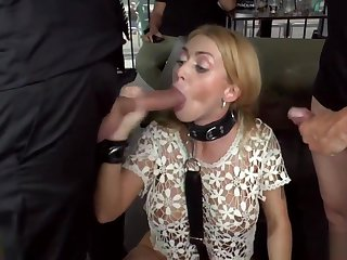 Blonde double probingly to public