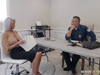 MILF slut Emma Starr blows a police officer with an increment of gets a facial instead of paying