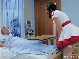 Nasty nurse in a miniskirt Jasmine Jae rides her patient to finish in the money b be