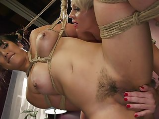 Lesbian BDSM good-luck piece session with Helena Locke and Mia Little