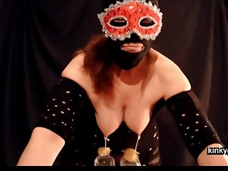 Slave Gemma. This was such a pain. Bottles lip close by water hanging on my nipples.