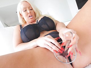 Solo hottie Alura pleases their way tight pussy with copulation toys