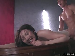 Japanese in underclothes Kashima Reina covered with oil and doggy fucked