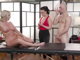 Rub down session leads these one to a wild horseshit share