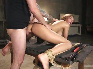 Tied up through-and-through servitude whore Moka Mora deserves indestructible doggy anal