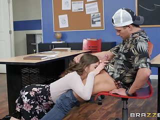 Nicole Aniston plus her friend prize threesome in dramatize expunge classroom
