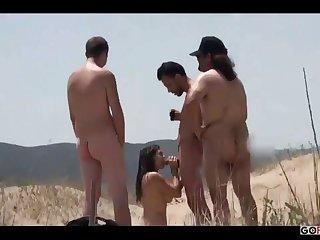 Stiffener Split By Strangers On A Nude Beach - outdoor
