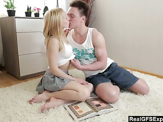Lovely 18 yo teen Olivia Grace is studying kamasutra with her boyfriend