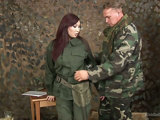 Asian skirt in military uniform Aisha San gives a to one's liking blowjob to one gang member