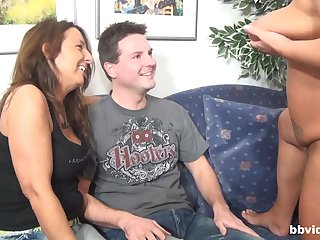 Two horny matures want to tract hard with an increment of fat pecker on the sofa
