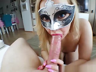HUGE load of shit POV blowjob alien BIMBO with pink Nails - Creamy oral creampie
