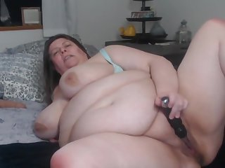 BBW talks fellow-criminal dirty and fucks herself