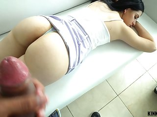 Kinky brunette Violet Rain is caught masturbating and gets poked well