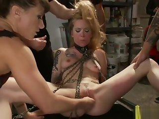 Chained blonde fuck in introduce biker bar