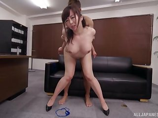 Asian milf fucked on the leather couch and jizzed on face