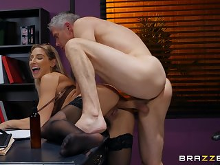 Older man fucks Abella Danger at work coupled with cums on her ass