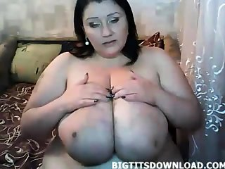 Fat woman with huge belly and tits