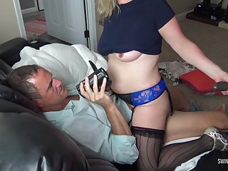 Take charge blonde housewife sucking a black cock