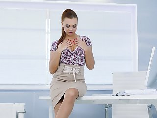Leggy secretary all round stockings Angel Wicky gets naked all round an obstacle office