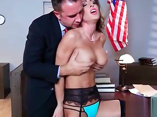 (Jessica Jaymes) Girl With Round Big Bristols In Hard Style Sex In Office clip-12