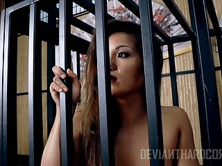 After subhuman locked anent a cage floozie Lana Violet has to ride strong cock