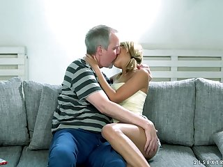 Lovely blond pet Sarah Cute gets her pussy sporadic out of order and fucked by grey man
