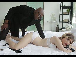 Black pervert spanks and fucks belted blue-eyed girlfriend Eliza Jane