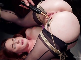 Tied brunette Amarna Miller is ready for the rough BDSM and sex