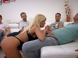 Big tittied slut Tiffany Rousso enjoys bukkake after hardcore blowbang chapter