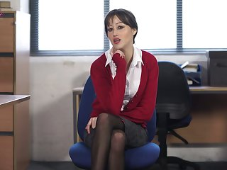 Naughty secretary in stockings Jenny shows striptease in the berth